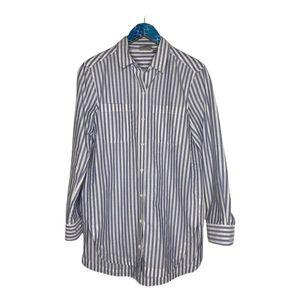 Athleta Weekender Blue White Stripe Button Shirt